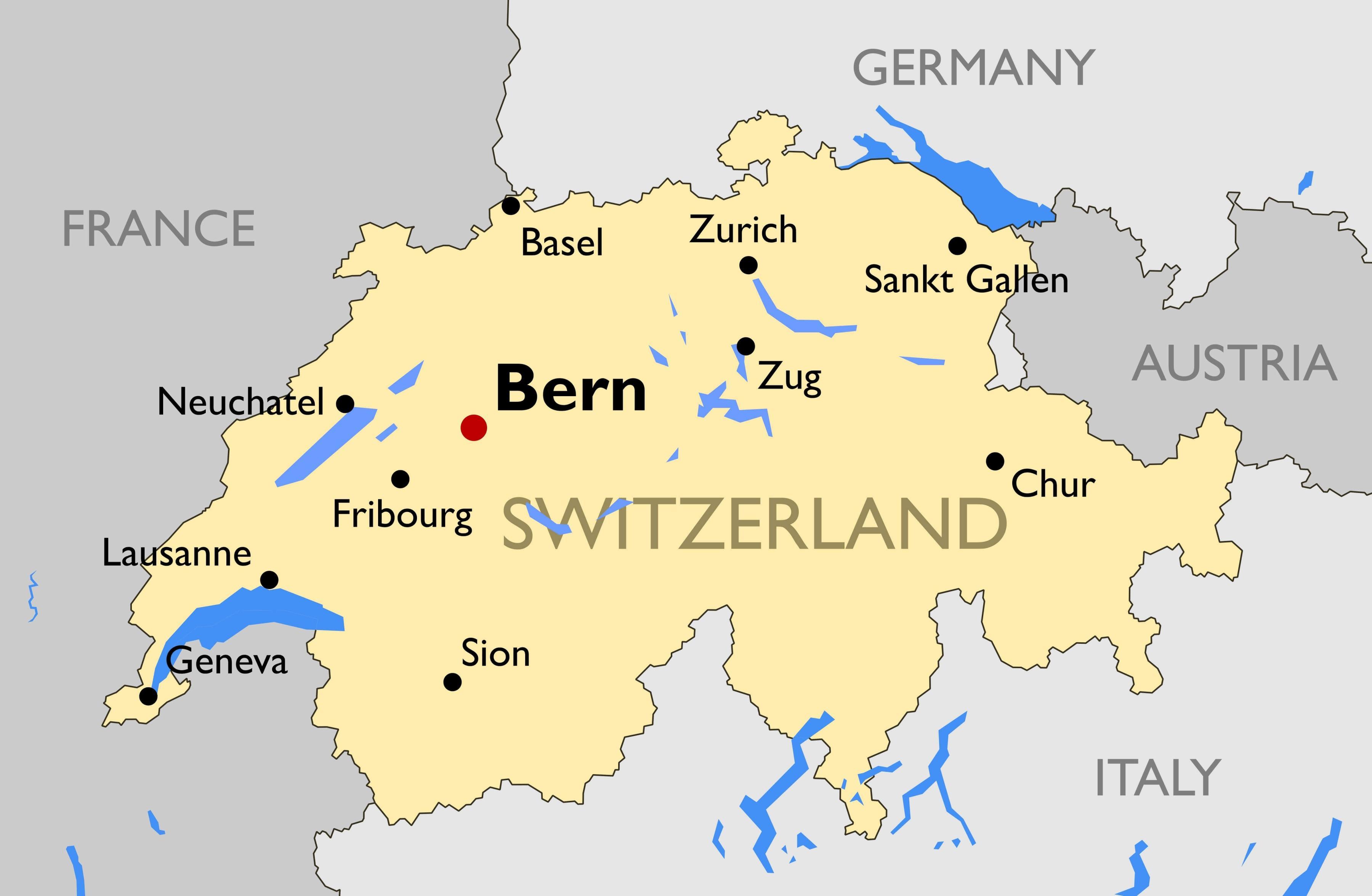Zwitserland Steden Kaart Kaart Van Zwitserland Met De Grote