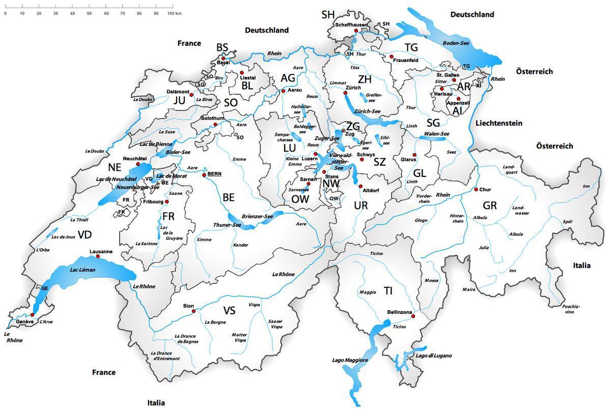 Zwitserland Rivier De Kaart Zwitserland Rivieren Kaart West